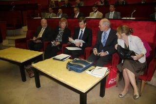 NCSL's Algeria faculty team in the chamber of the Oran regional parliament: Karl Kurtz, RaeAnn Kelch, Gary Vanlandingham, Peter Wattson, Christy Delafield