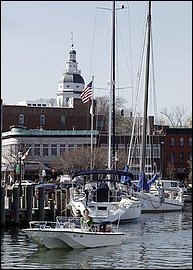 Annapolis City Dock with State House Dome