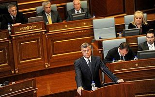 Prime Minister Hashim Thaci address the Kosovo Assembly