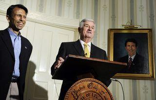 Sen. John Alario, center, with Gov. Bobby Jindal